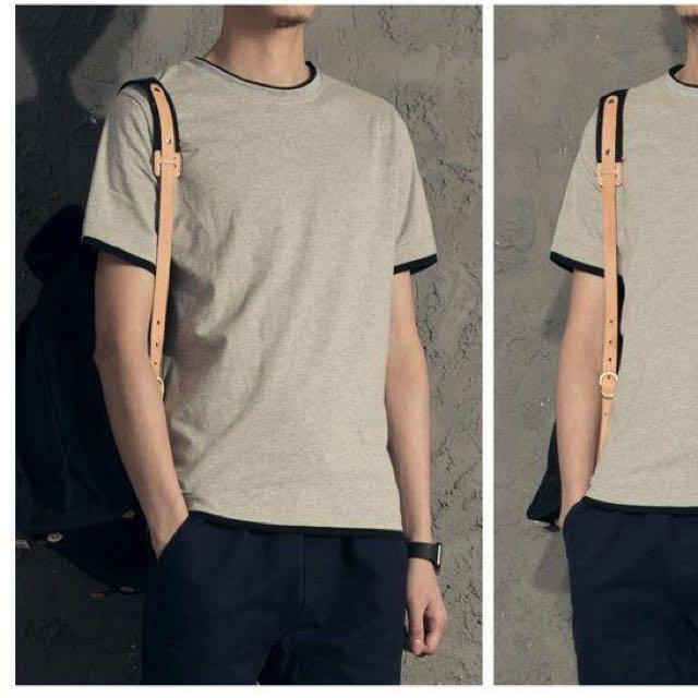 <全新>韓版 假兩件 短T - Shirt