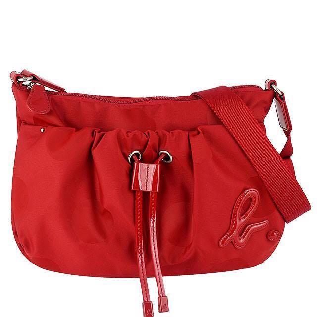 全新正品 Agnes b. 紅色 拉繩造型 斜背包