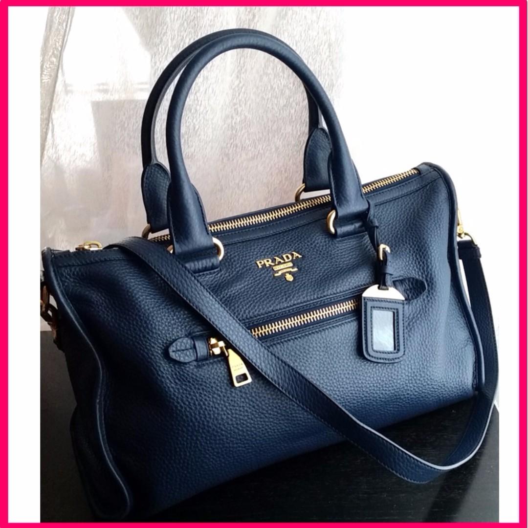 b93f1aff26 💯 Authentic Prada BL0805 Bauletto Vitello Phenix bag - Blue (W-09 ...