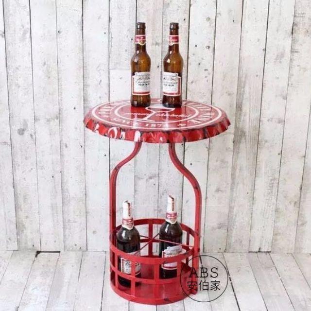 【ABS安伯家】LOFT 工業風紅色做舊瓶蓋造型茶几 邊几 餐廳桌 酒吧桌 擺飾桌 床頭邊桌