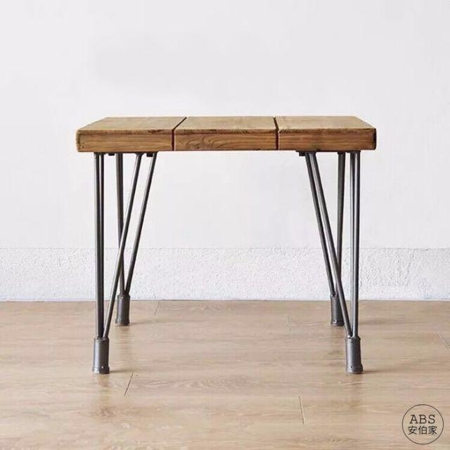 【ABS安伯家】LOFT 工業風 美式鄉村 實木鐵藝 餐桌 茶几 西餐廳咖啡桌小方桌 床邊桌沙發桌