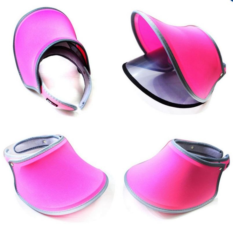 Adjustable PVC Sport Hat With Double Layer Summer UV Protection Sun Visor  Womens Hat   Neon Sun Visor Hat (Fluorescent Pink) 0664b84fe62e