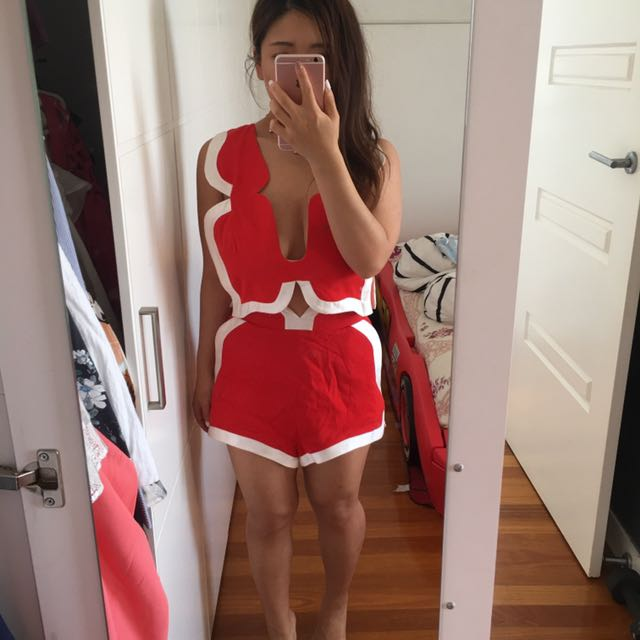 Alice McCall red set top + shorts