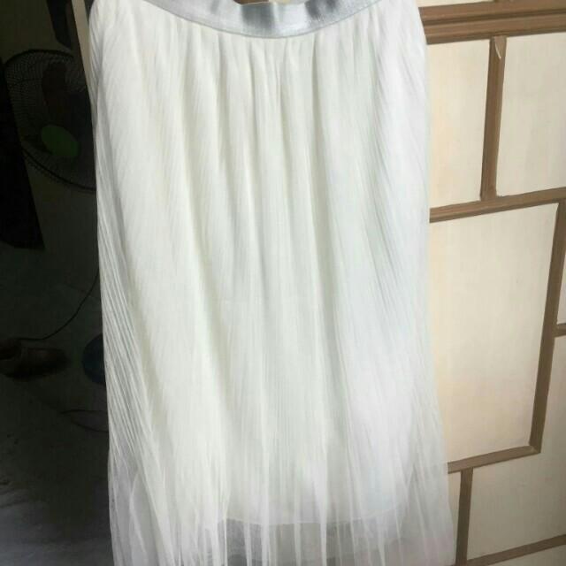 Anne taylor loft pettite midi chifon 3 layers long white skirt authentic