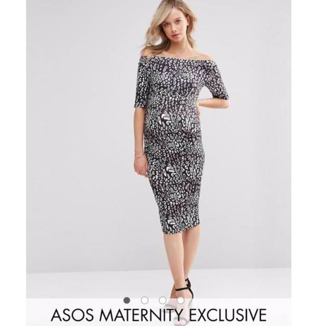 ASOS Maternity Bardot Dress With Half Sleeve in Leopard