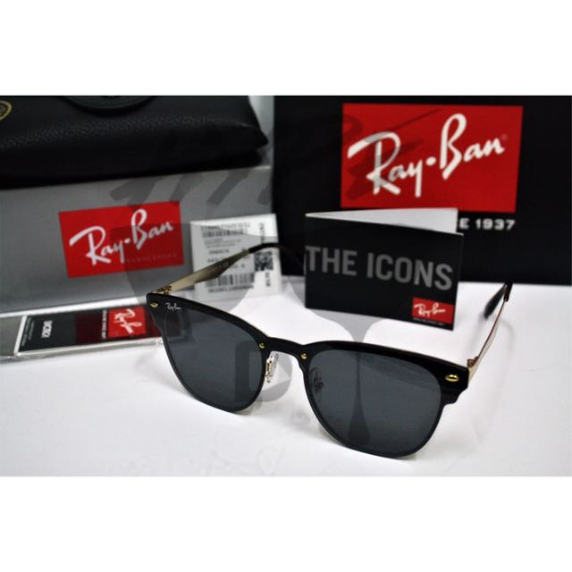 b553576328 Authentic Ray Ban Clubmaster Blaze Black RB3576 043 71 54MM.