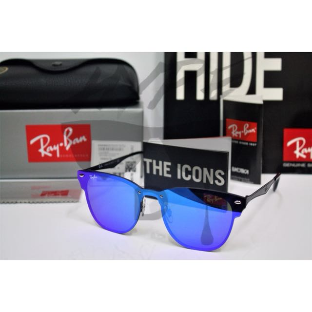 b6ef2c102b Authentic Ray Ban Clubmaster Blaze Violet Blue Mirror RB3576N 153 7V ...