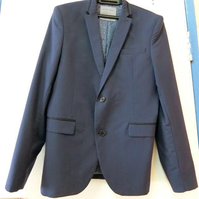 Authentic Zara Men Suit Blazer Coat in Dark Blue