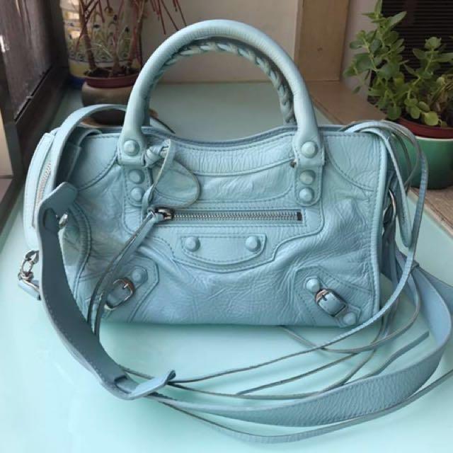 Balenciaga mini bag 巴黎世家 天藍 皮釘 稀有色