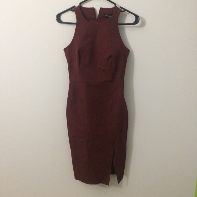 Banana Republic Maroon Fitted Dress 00