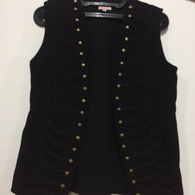 Black & Gold button Vest