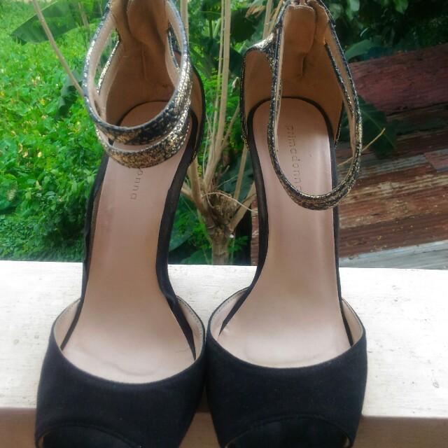 Black and Gold Primadonna Snakeskin Stilettos