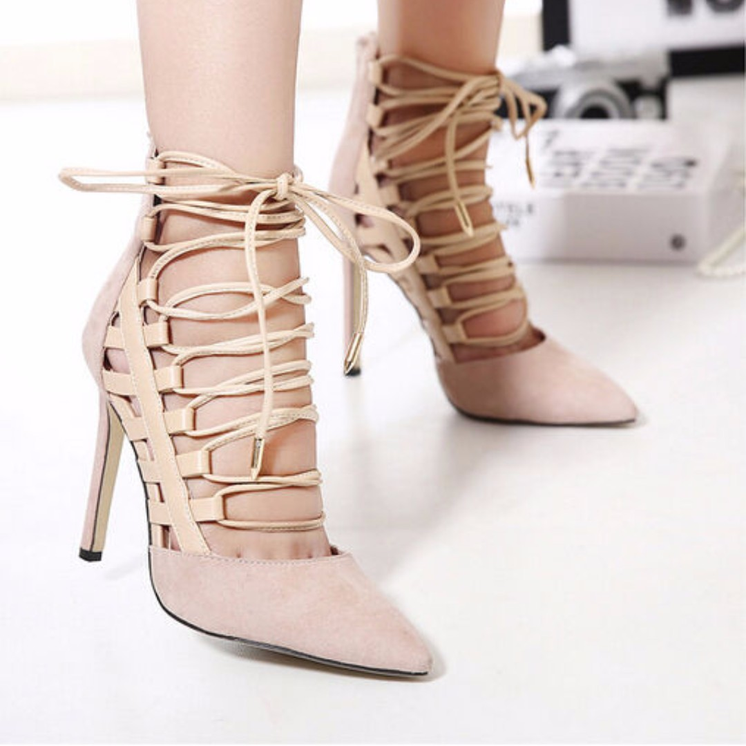 8b7894a99ab Black Nude heels gladiator sandals women ankle strap heels lace up ...