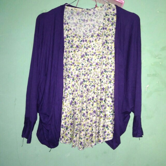 Blouse bunga2 + outer cardy