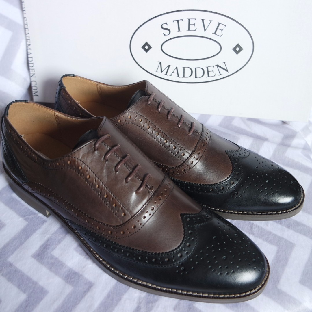 662f1d8d2d7 BNIB Steve Madden Brown Black Leather Wingtip Oxford Brogue Shoes US8.5