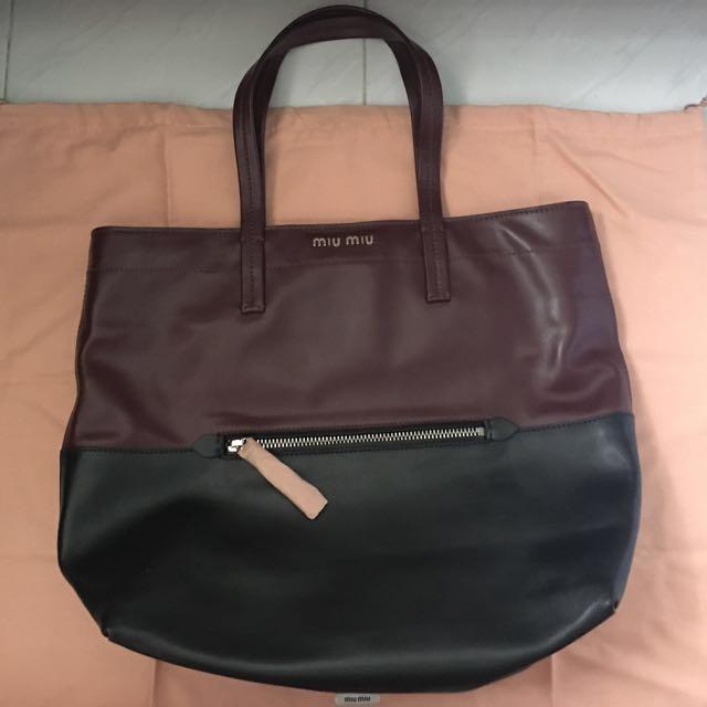 fb18867e0b7f Brand New Miu Miu Vitello Soft Shopping Tote RR1934