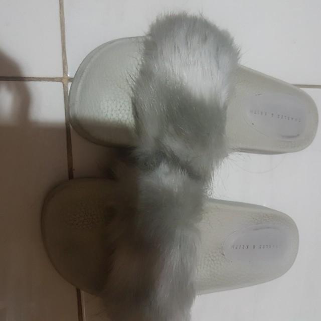 charles n keith fur slippers