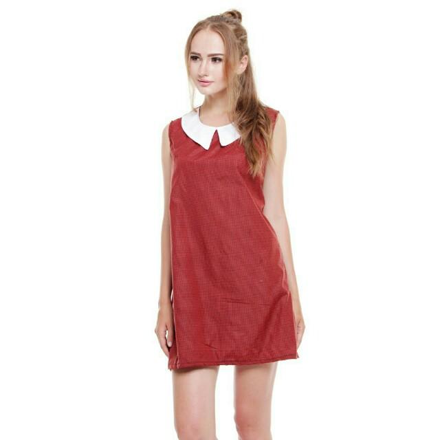 Check dress maroon