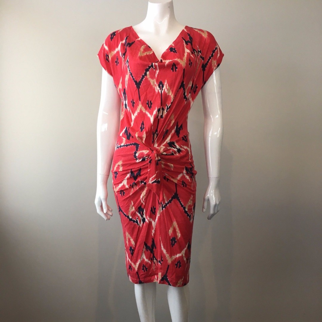 Country Road Ikat Print Dress Tie Knot Front Jersey Stretch Size S 10