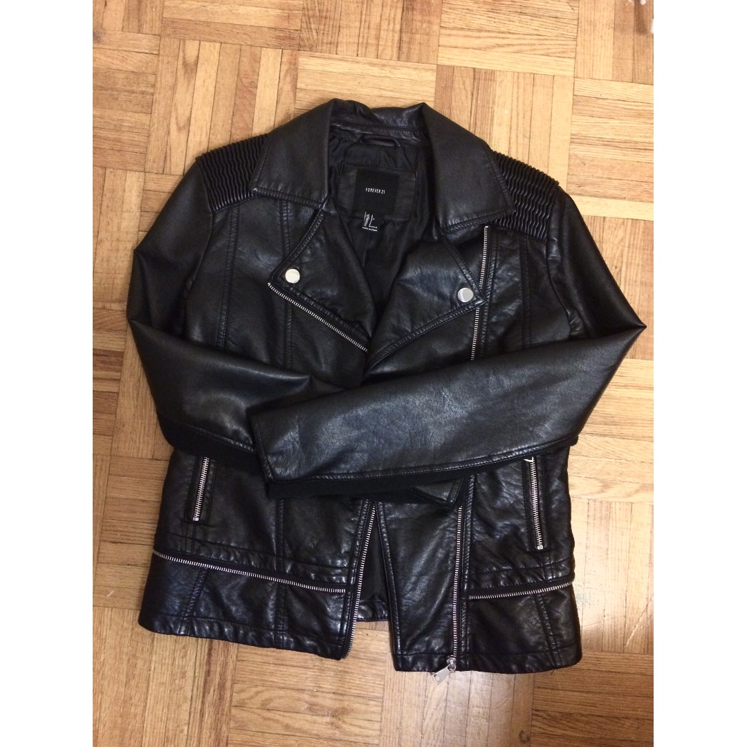Detailed Motor Faux Leather Jacket