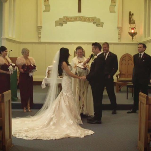 Essence Of Australia Custom Wedding Dress (snake Size 10)