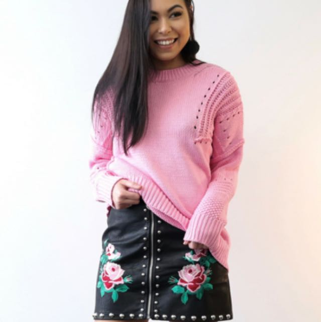 Faux-Leather Embroidered Mini Skirt