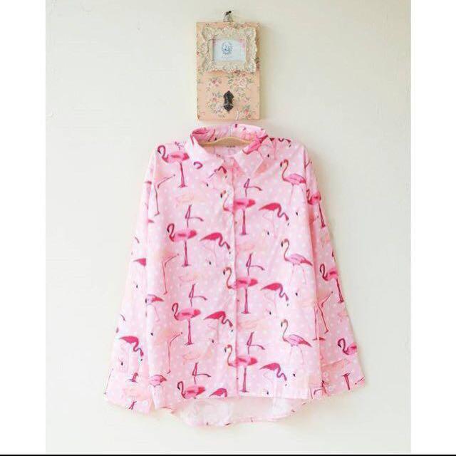 Flaminggo top / Kemeja pink flaminggo