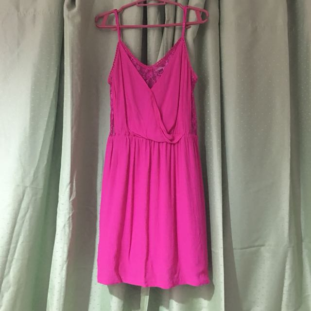fuchsia forever21 dress with lace detail