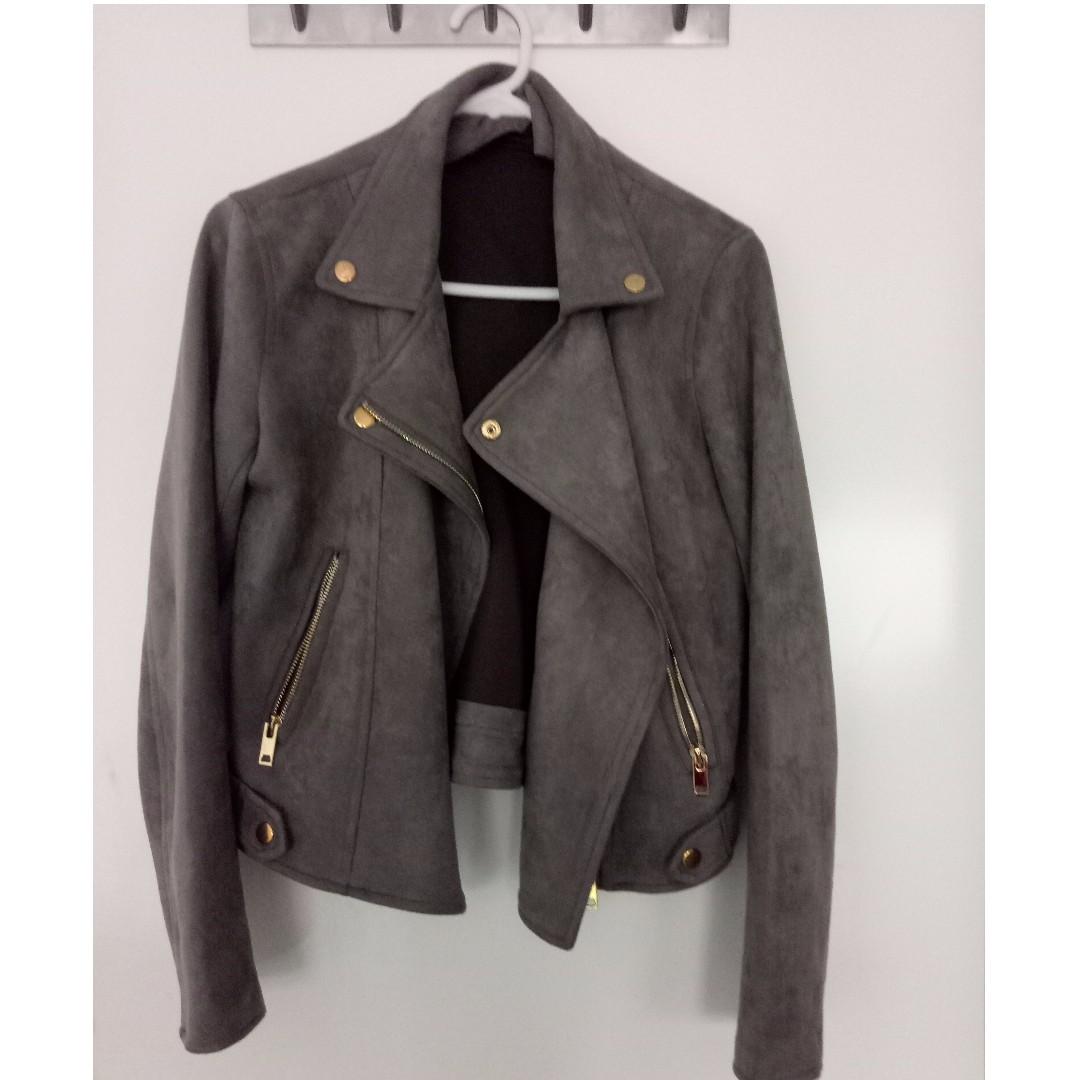 Grey Suede/Moto Biker Jacket
