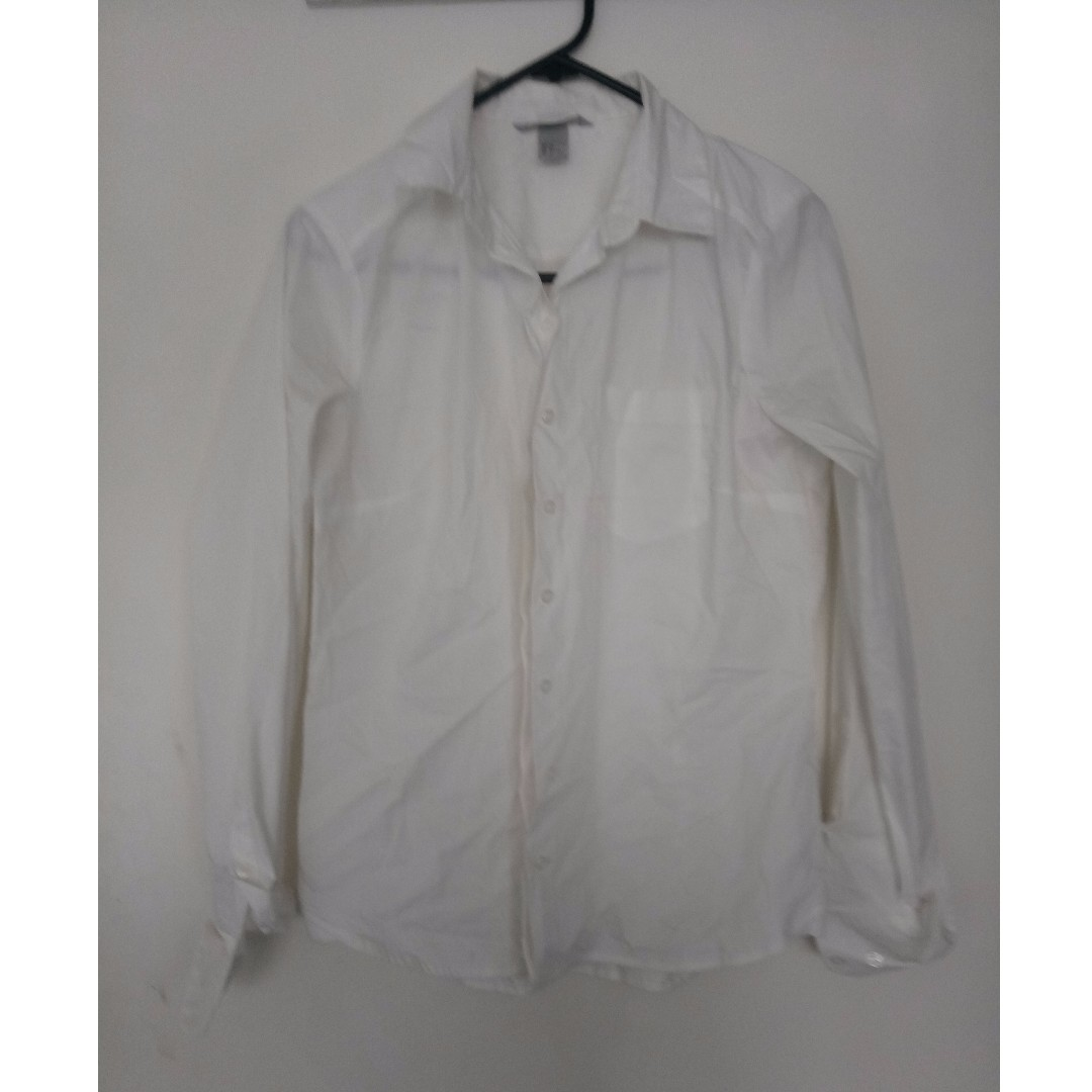 H n M Womens Classic White Chambray, White Blouse, Top