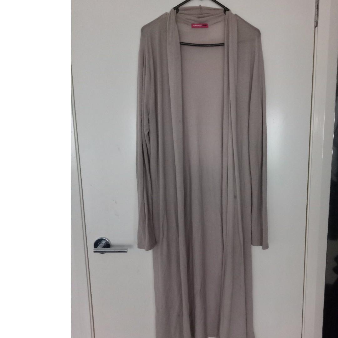 Long Womens Beige Cardigan Sleek, Flowy Style