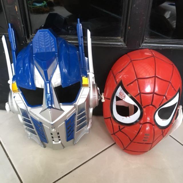mainan anak topeng spiderman robot transformer