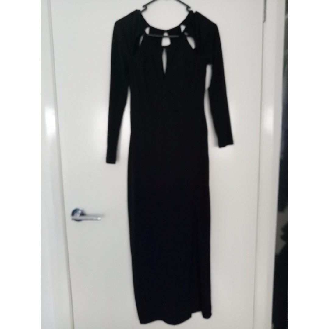 Maxi, evening, party, Side Split Black Dress