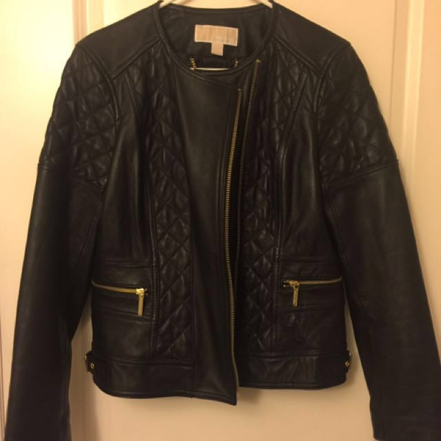 michael kors leather biker jacket L