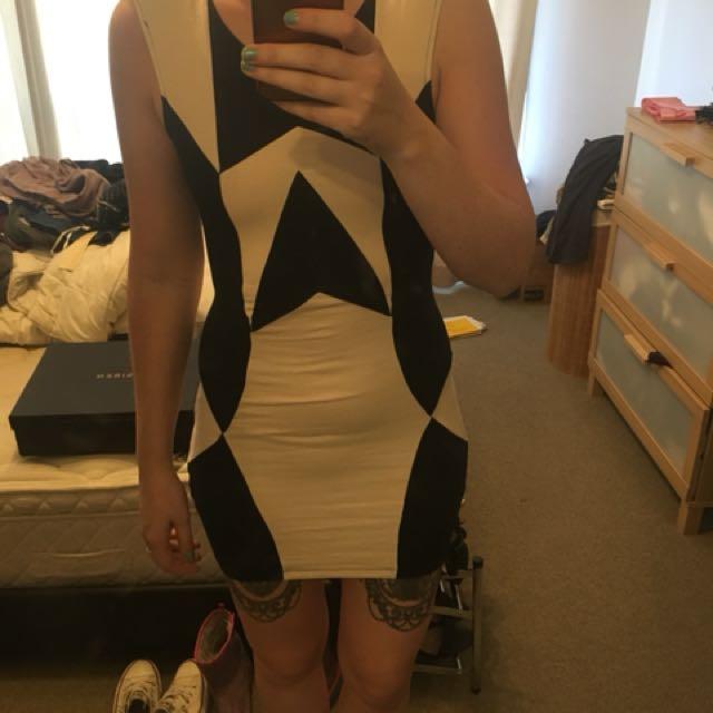 Motel rocks backless black and beige dress size S