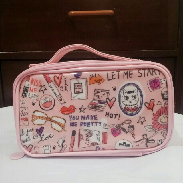 Mumuso Life Pink Makeup Bag with Brush Organizer