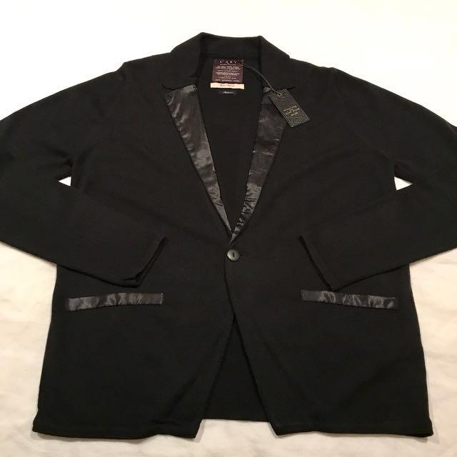 "[NEW - BNWT] - Size M - ""River Island"" Black Satin Collar Lightweight Knitted Cardigan"