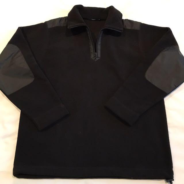 """[NEW] - Size M - """"Bossini"""" Jet Black Half Zip Fleece Top"""