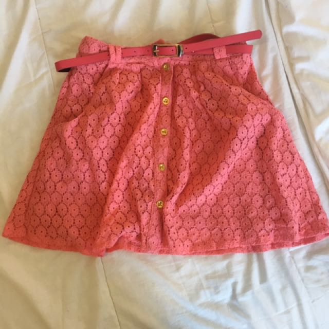 Pink Floral Lace Skirt