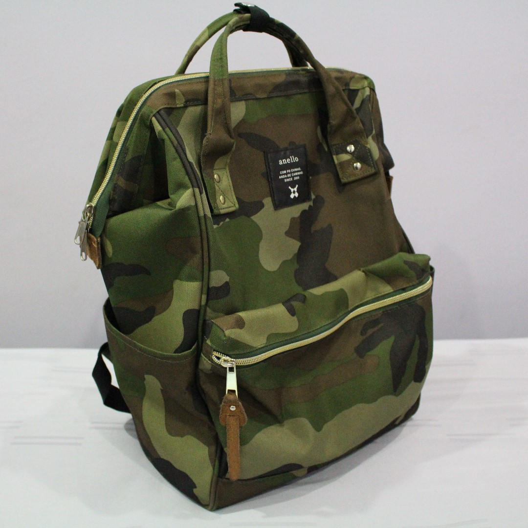 Pre-loved Anello Canvas Backpack Bag Large Camo Army (Bought from ... 408bfb7d693a4