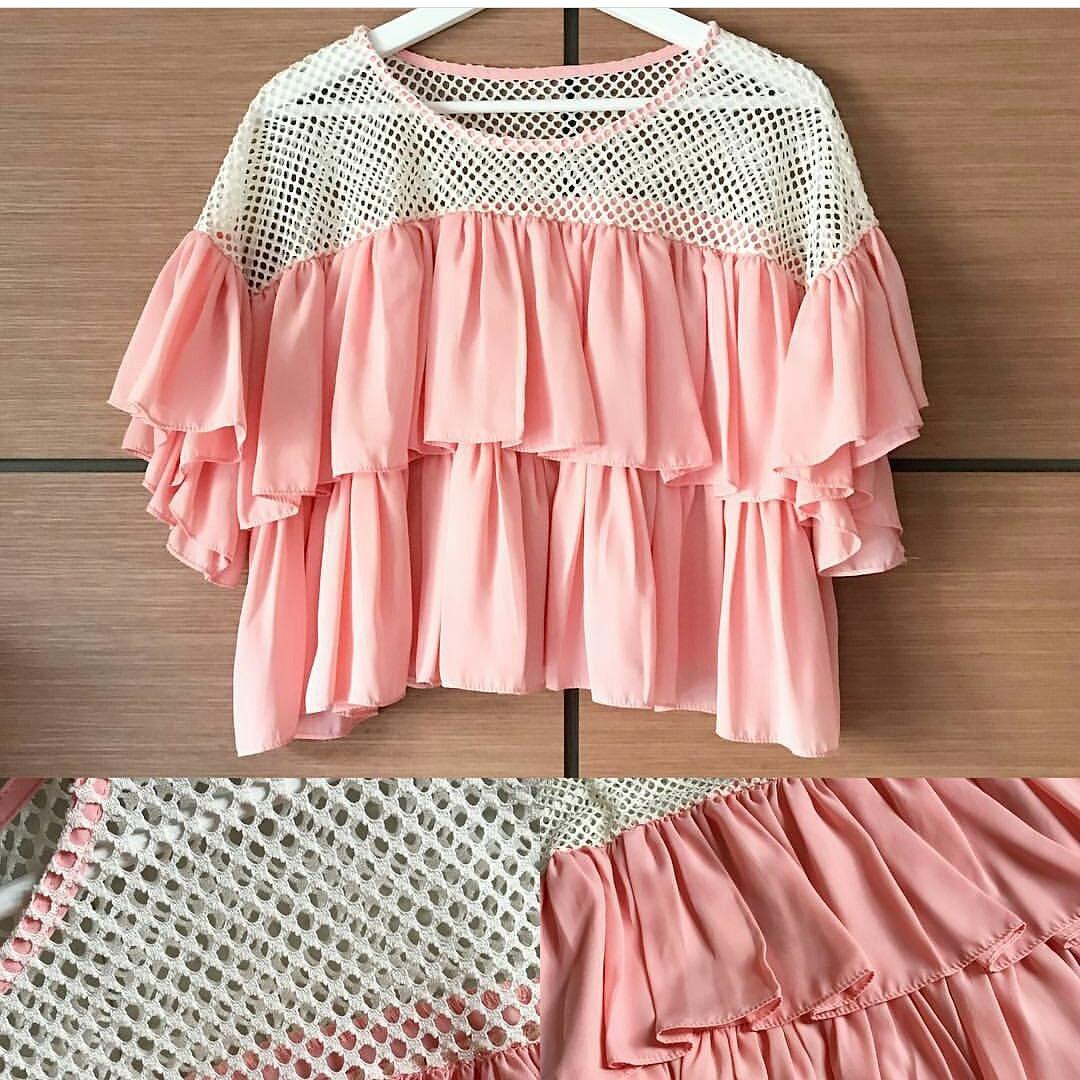 Prem nets ruffled blouse in pink