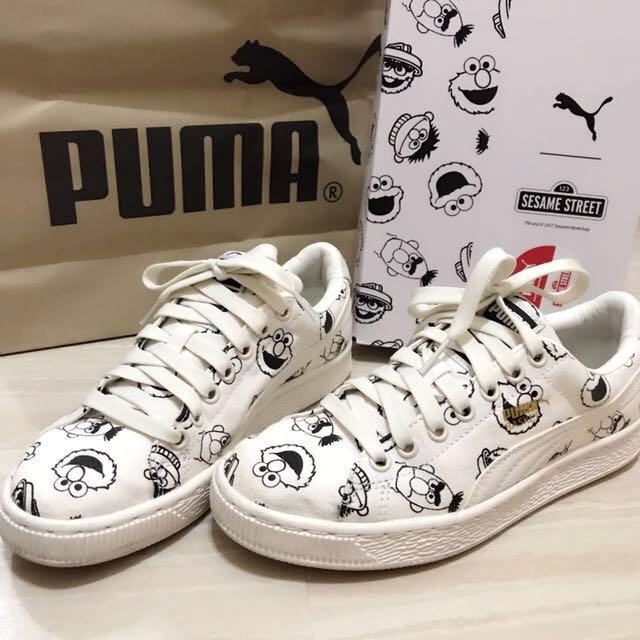 「限量•台灣公司貨」PUMA x Sesame Stree芝麻街聯名米白色帆布鞋