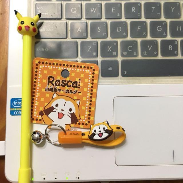 小浣熊Rascal鑰匙圈/皮卡丘原子筆