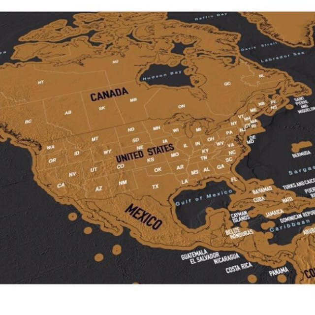 Scratch Map | Travel Scratch Off World Map Poster with US States and ...