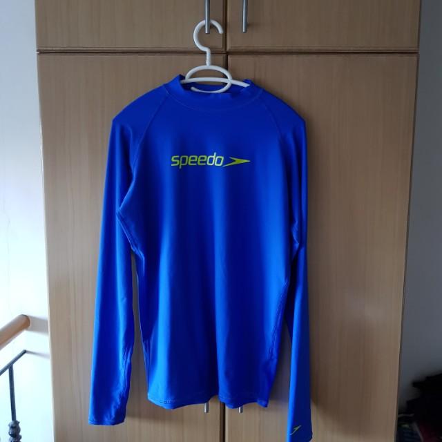 RUSH SALE SPEEDO Longsleeve Blue Swimwear Top 2XL