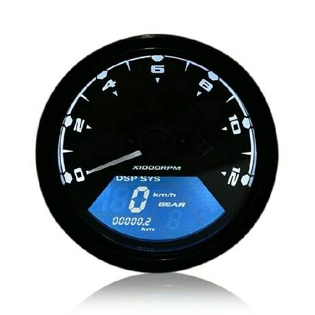SPEEDOMETER BULAT ANALOG DIGITAL TAKOMETER ODOMETER LCD SEMUA FUNGSI