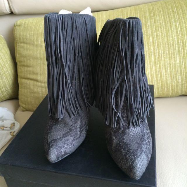 Stella Luna 灰色流蘇蛇紋高跟短靴38號