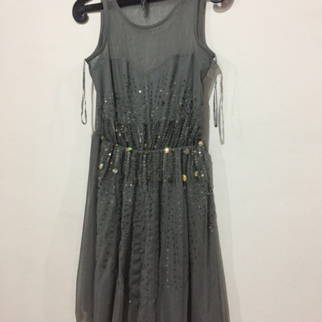 Stradivarius Light Grey with Sequins