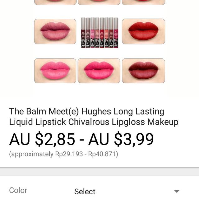 The balm meet hughes long lasting liquid lipstik chivalrous lipgloss makeup