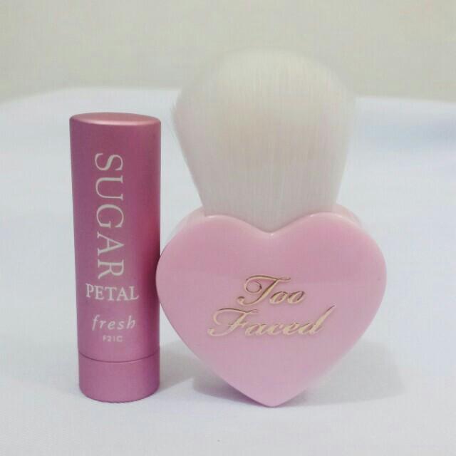 Too Faced Blush Brush and Fresh Sugar Petal Lip Treatment Balm
